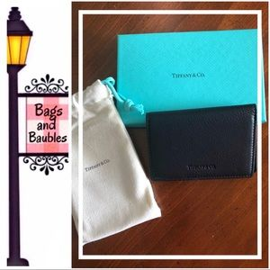 TIFFANY & Co Black Leather Folding Card Case